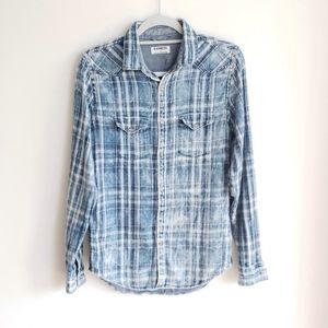 Express Men's warm Plaid Button Down Shirt